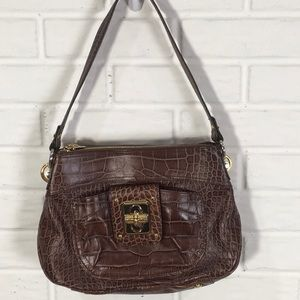 B MAKOWSKY FAUX CROCODILE PATTERN BAG WITH GOLD